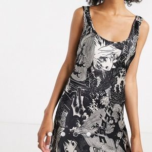ASOS Weekday Manga Anime Satin Midi Dress